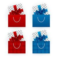 Coffrets cadeaux dans des sacs à provisions
