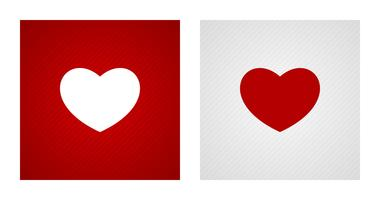Formes de coeur sur fond rouge et blanc
