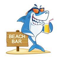 Requin avec un verre de jus vecteur
