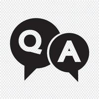 icône de bulle de dialogue question et réponse vecteur
