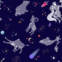 Modèle sans couture avec les étoiles et les comstellations. Style de bande dessinée illustration vectorielle