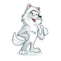 Loup blanc heureux