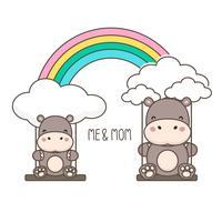 Hippo et bébé se balancent sur un arc en ciel.