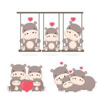 Famille d'hippopotames. Papa maman et bébé dessin animé.