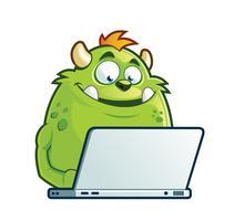 Monstre travaillant sur un ordinateur portable vecteur