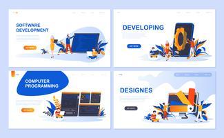 Ensemble de modèles de pages de destination pour logiciels, développement, concepteur, programmation. Des concepts plats illustration vectorielle moderne décoré le caractère de personnes pour le développement de site Web et site Web mobile.