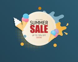 Fond de bannière de vente de l'été en papier coupé style. Conception d'illustration vectorielle. affiche. prospectus. brochure. bannière. modèle. publicité de promotion.