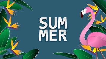 Fond de bannière de vente de l'été en papier coupé style. Illustration vectorielle pour brochure, dépliant, publicité, modèle de bannière. vecteur
