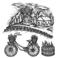 Paysage d'été de champ de lavande. Croquis de vecteur dessiné main Provence, France, illustration vieux vélo d'encre avec panier floral isolé sur fond blanc