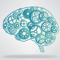 Pignons en forme de cerveau de couleur bleue vecteur