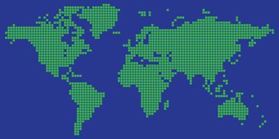 Vecteur de carte du monde carré en pointillé couleur vert et bleu