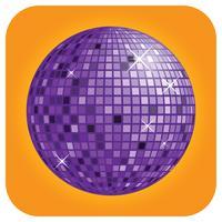 Boule disco violette avec le vecteur de fond orange