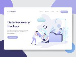 Modèle de page d'atterrissage de Data Recovery Backup Illustration Concept. Concept de design plat moderne de conception de page Web pour site Web et site Web mobile. Illustration vectorielle