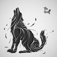 la silhouette splash de loup vecteur