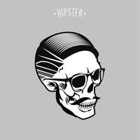 symbole de crâne de hipster vecteur
