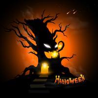 Arbre maléfique d'Halloween vecteur