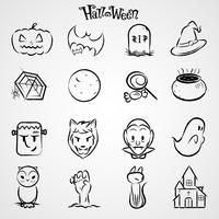 jeu d'icônes Halloween noir vecteur