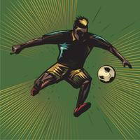 coup de pied de football abstraite en sautant