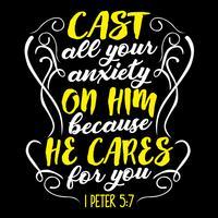 Jetez toute votre angoisse sur lui parce qu'il se soucie de vous vecteur