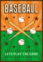 Affiche de Pop Art Sportif de Baseball Rétro vecteur