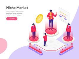Modèle de page d'atterrissage de Niche Market Illustration Concept isométrique. Concept de design plat isométrique de la conception de pages Web pour site Web et site Web mobile. Illustration vectorielle