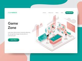 Modèle de page d'atterrissage de Game Zone Room Illustration Concept. Concept de conception isométrique de la conception de pages Web pour site Web et site Web mobile. Illustration vectorielle vecteur