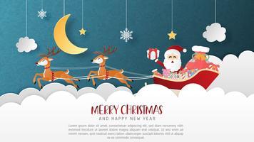 Joyeux Noël et bonne année carte de voeux en papier coupé style. Illustration vectorielle Fond de célébration de Noël. Bannière, flyer, affiche, papier peint, modèle, présentoir publicitaire.