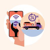 Main tenant le smartphone. Assistance routière en ligne, concept d'application mobile pour service de remorquage de voiture