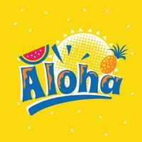 Aloha Phrase avec la pastèque. Citation d'été vecteur