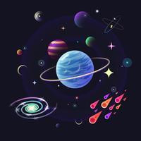Fond de vecteur de l'espace avec des planètes brillantes, des étoiles, des comètes