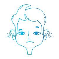 homme de ligne avec une infection de la maladie de l'otite otite