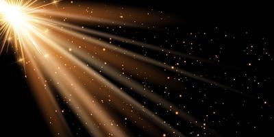 Fond de bannière de rayons dorés vecteur