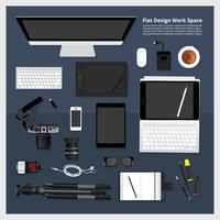 Illustration vectorielle de création et de conception graphique outil espace de travail isolé vecteur
