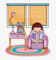 Fille avec des livres de dessins animés