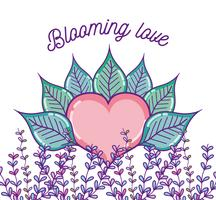 Caricatures d'amour en fleurs