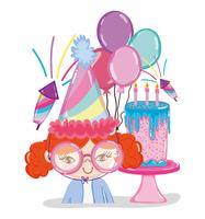 Dessins animés de fête d'anniversaire fille vecteur