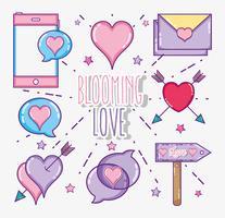 Ensemble de dessins animés d'amour et de coeurs