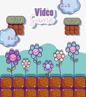 Paysage de jeu vidéo rétro