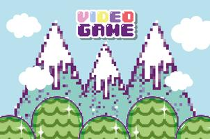 Scène de jeu vidéo pixélisée vecteur