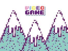 Paysage de jeu vidéo rétro vecteur