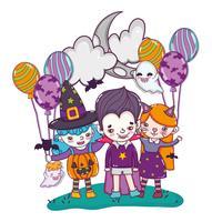 Halloween dessins animés mignons vecteur