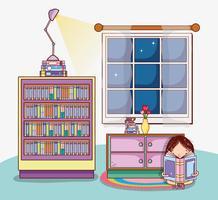 Fille avec des livres de dessins animés vecteur