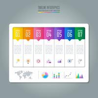 concept d'entreprise de conception infographique avec 7 options. vecteur