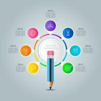 Modèle d'infographie de l'éducation option en 7 étapes. vecteur