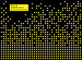 Résumé du motif géométrique carré jaune moutarde sur fond noir. vecteur