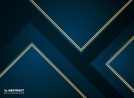 Papier abstrait coupé dégradé bleu foncé avec contour de cadre doré. vecteur