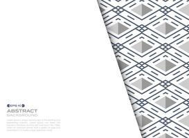 Feuille de couverture abstraite du motif géométrique carré bande bleu ligne ligne. vecteur