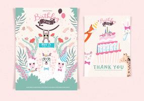Vecteur d'invitation de joyeux anniversaire animaux