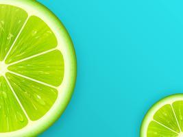 Tranche de citron vert sur fond de vecteur sarcelle