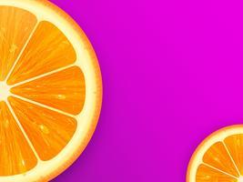 Tranche d'orange sur fond de vecteur lilas